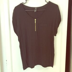 H&M Women Black Zipper Pocket Blouse